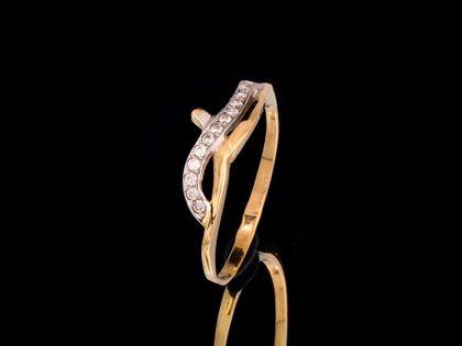 P478 Złoty pierścionek z cyrkoniami 585 /Jubi