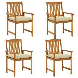 Lumarko Krzesła reżyserskie z poduszkami, 4 szt., lite drewno akacjowe;