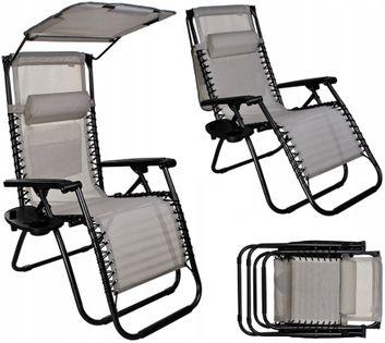 Fotel Ogrodowy z daszkiem leżak plażowy wielopoziomowy BOSTON D259