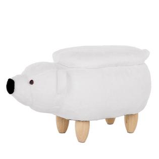 Pufa Tapicerowana Ze Schowkiem Biała Bear