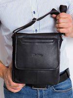 Skórzana męska torba miejska na ramię listonoszka 013-NDM-PA BLACK