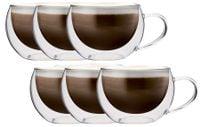 Zestaw Szklanek Termicznych Kawy Cappucino Herbaty z Uchem 6 sztuk
