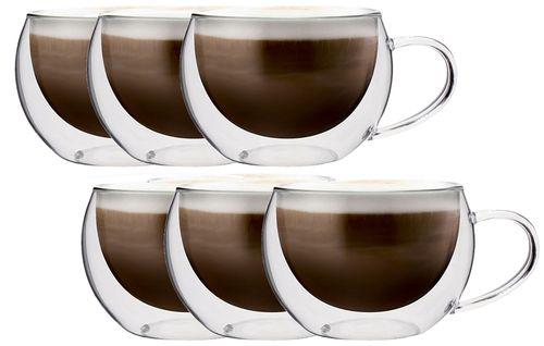 Zestaw Szklanek Termicznych Kawy Cappucino Herbaty z Uchem 6 sztuk na Arena.pl