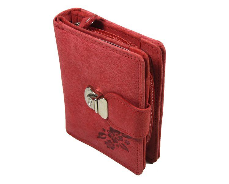 8f3bce9241e64 Pojemny czerwony portfel damski Always Wild ze skóry nubukowej z zapięciem  zdjęcie 2