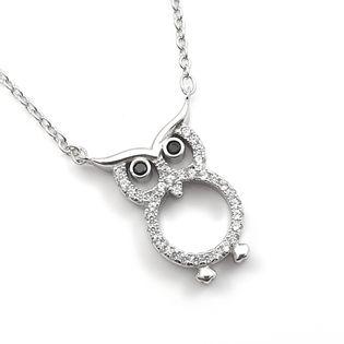 Naszyjnik srebrny rodowany sowa