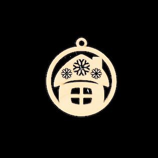 D691 Świąteczna zawieszka bombka z domkiem w gwiazdki