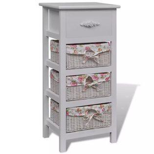 Biała szafka drewniana z szufladą 3 koszykami