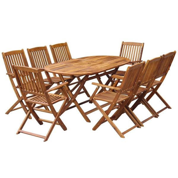 Zestaw mebli ogrodowych, 9-częściowy, drewno akacjowe zdjęcie 1