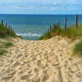 Obraz na płótnie - Canvas, okno - zejście na plażę 90x60 zdjęcie 3