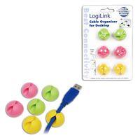 Organizer kabli LogiLink KAB0010 klips, 6 szt, kolory
