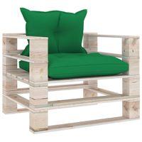 Lumarko Sofa ogrodowa z palet, zielone poduszki, drewno sosnowe