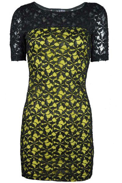 Koronkowa sukienka,żółto - czarna  - 38 / M zdjęcie 1