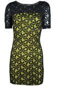 Koronkowa sukienka,żółto - czarna  - 36 / S