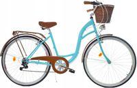 """Rower Dallas City 28"""" 7spd - turkusowy z brązem + kosz wiklina"""