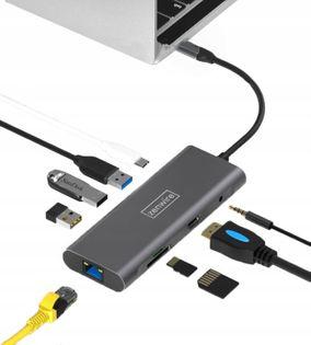 Adapter Przejściówka 9w1 HUB USB-C Thunderbolt 3.0 (HDMI 4K 3x USB 3.0 Ethernet RJ-45 JACK SD PD) do Apple Macbook Pro Air, Dell XPS, HP Envy, Asus Zenbook i inne