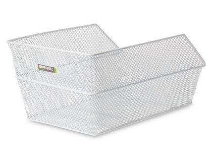 Kosz na tylny bagażnik BASIL CENTO + Mounting set for CENTO basket, stalowy biały