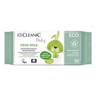 CLEANIC vege milk ECO 50szt - chusteczki biodegradowalne dla dzieci i niemowląt