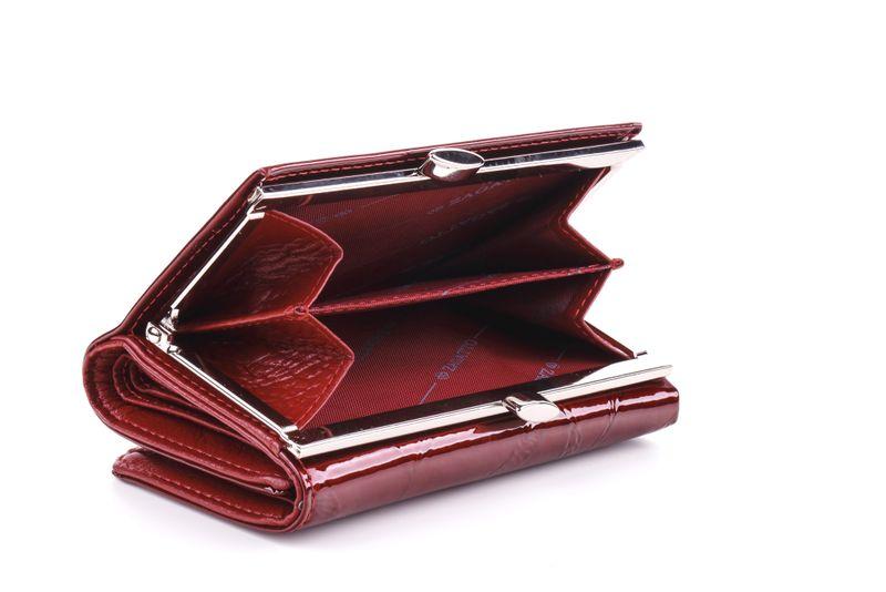 Mały portfel skórzany damski Zagatto czerwony liście RFID ZG-117 Leaf zdjęcie 6