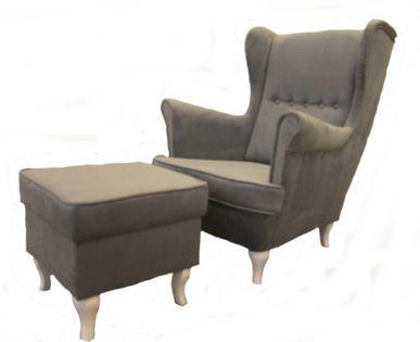 Fotel Uszak King z podnóżkiem - kominkowy, klasyczny design