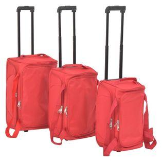 Zestaw 3 toreb podróżnych na kółkach czerwony VidaXL