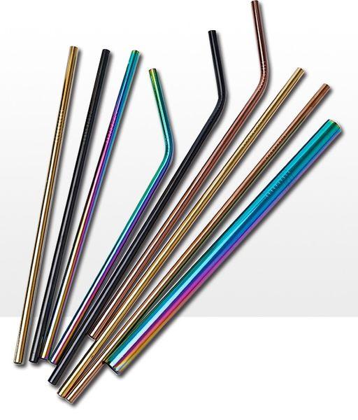 Słomki metalowe wielorazowe z kolorowymi ustnikami, zestaw 8 słomek zdjęcie 3