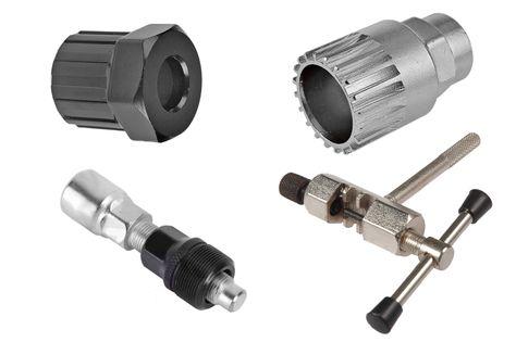 Zestaw narzędzi rowerowych - klucz do łańcucha,wolnobiegu,wkładu, ściągacz korby