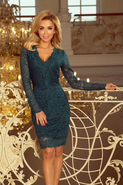 e3af465fa5 170-3 Sukienka koronkowa z długim rękawkiem i DEKOLTEM - ZIELONA Rozmiar -  XL zdjęcie