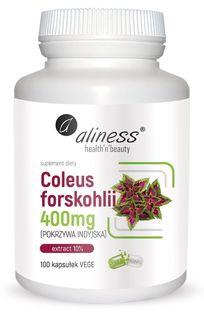 Coleus forskohlii 10% 400mg (pokrzywa indyjska) x 100 Vege caps Aliness