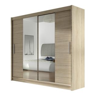 Szafa przesuwna Bega II z lustrem 180cm - pojemna garderoba - SONOMA