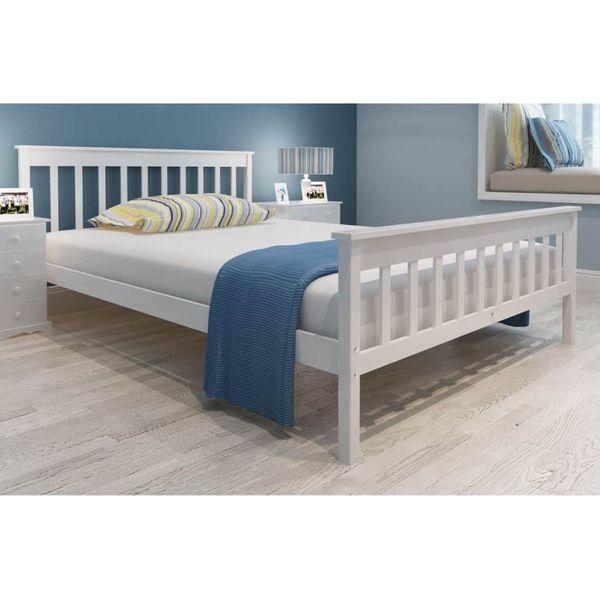 Łóżko z materacem z pianką memory, 140x200 cm, sosnowe, białe zdjęcie 1