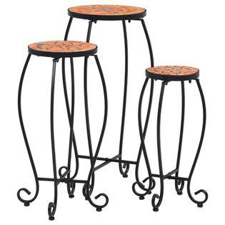 Stoliki mozaikowe, 3 szt., ceramiczne, kolor terakotowy