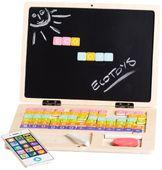 Drewniany laptop edukacyjny: tablica magnetyczna i kredowa