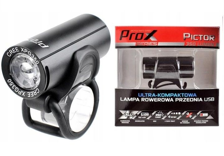 Lampa Rowerowa Przednia Prox Pictor Cree 350lm Usb Arena Pl