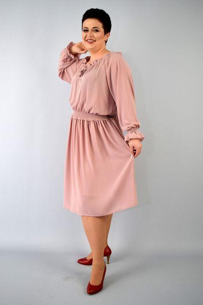 b11ac3cb68 Sukienka AGATA szyfonowa gumka w pasie rękawy bufki brudny róż 42 zdjęcie 4