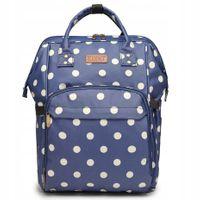 Plecak dla mamy damski niebieski w groszki do wózka WODOODPORNY KN53