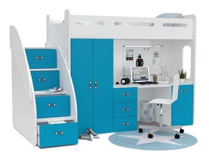 Łóżko piętrowe ZUZIA PLUS materace schodki biurko - błękit