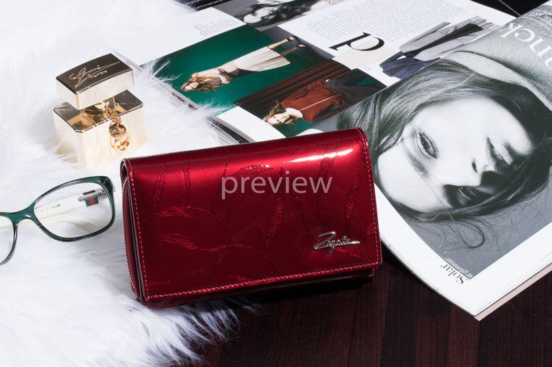 Mały portfel skórzany damski Zagatto czerwony liście RFID ZG-113 Leaf zdjęcie 3