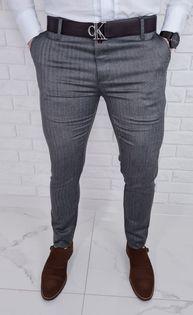 Eleganckie spodnie męskie w jodełke ciemnoszare 77 - 32