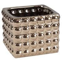 Doniczka Ceramiczna osłonka 18x15 kwadrat Złoty glamour