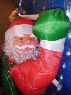 Mikołaj na drabinie gwiazdor LED 90cm świecąca drabina multikolor led
