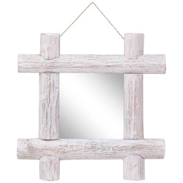 Lustro W Ramie Z Belek, Białe, 50X50 Cm, Lite Drewno Z Odzysku zdjęcie 1