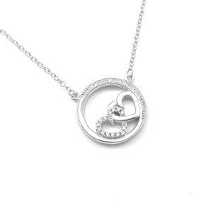 Modny naszyjnik srebrny z serduszkami