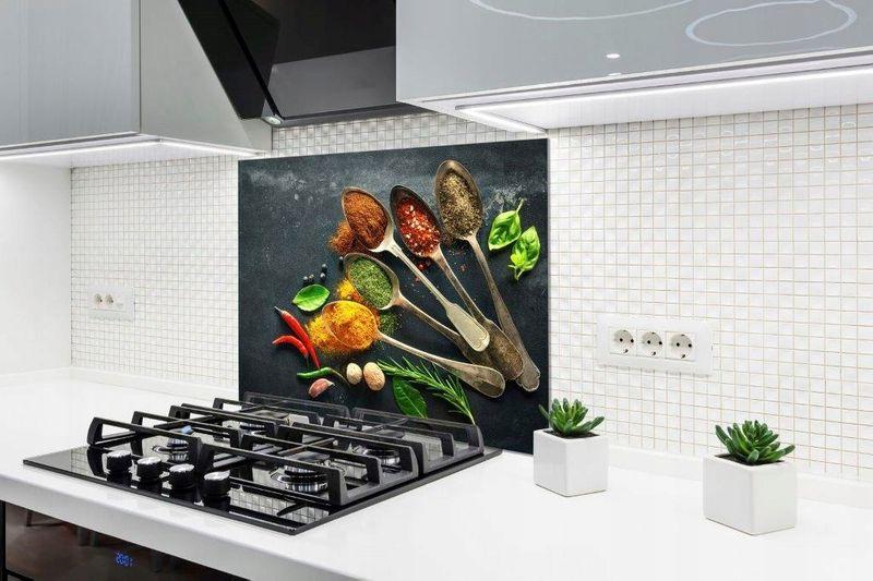 Panel Szklany Laminowany Do Kuchni Przyprawy 90x65x16cm