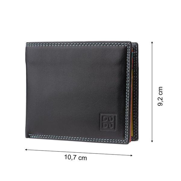 92568136e0177 Skórzany mały portfel DuDu® RFID, 534-421R czarny z kolorowym środkiem  zdjęcie 1