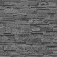 Tapeta imitacja KAMIEŃ ŁUPEK 2363-40 efekt 3d grafit czarny szary