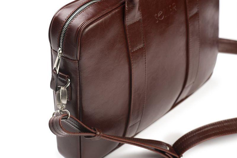 c368614974d60 Skórzana brązowa męska torba na laptopa do pracy skóra naturalna zdjęcie 5
