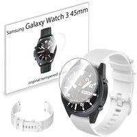 Pasek sportowy i szkło hartowane do Samsung Galaxy Watch 3 45mm biały