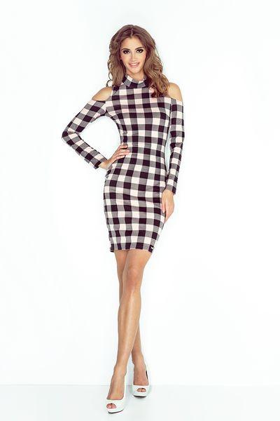 622771c3c2 MM 008-3 Sukienka z golfem i długim rękawem - CZARNO RÓŻOWA KRATKA Rozmiar -