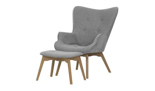 Fotel uszak z podnóżkiem Ducon Malmo-Malmo 90-jasny dąb