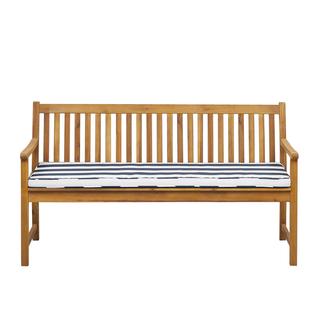 Ławka ogrodowa z certyfikowanego drewna 160 cm niebieska poduszka VIVARA